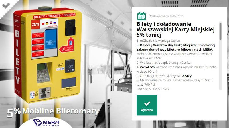 ZTM Warszawa - zwrot 5% za zakup biletu (mBank mOkazje)
