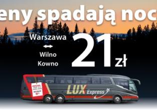 Nocą potanieją bilety w Lux Express. Przejazdy do Wilna lub Kowna za 21 PLN w jedną stronę